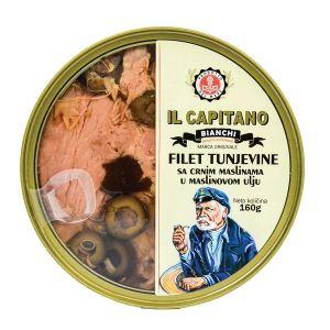 Il Capitano fileti tunjevine sa crnim maslinama u maslinovom ulju 160g TL